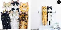 【日本】超可愛拉長身驅造型 貓咪毛巾